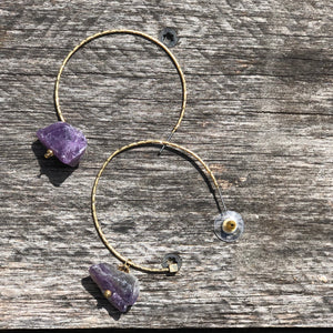 Goldtone hoop with Amethyst stone