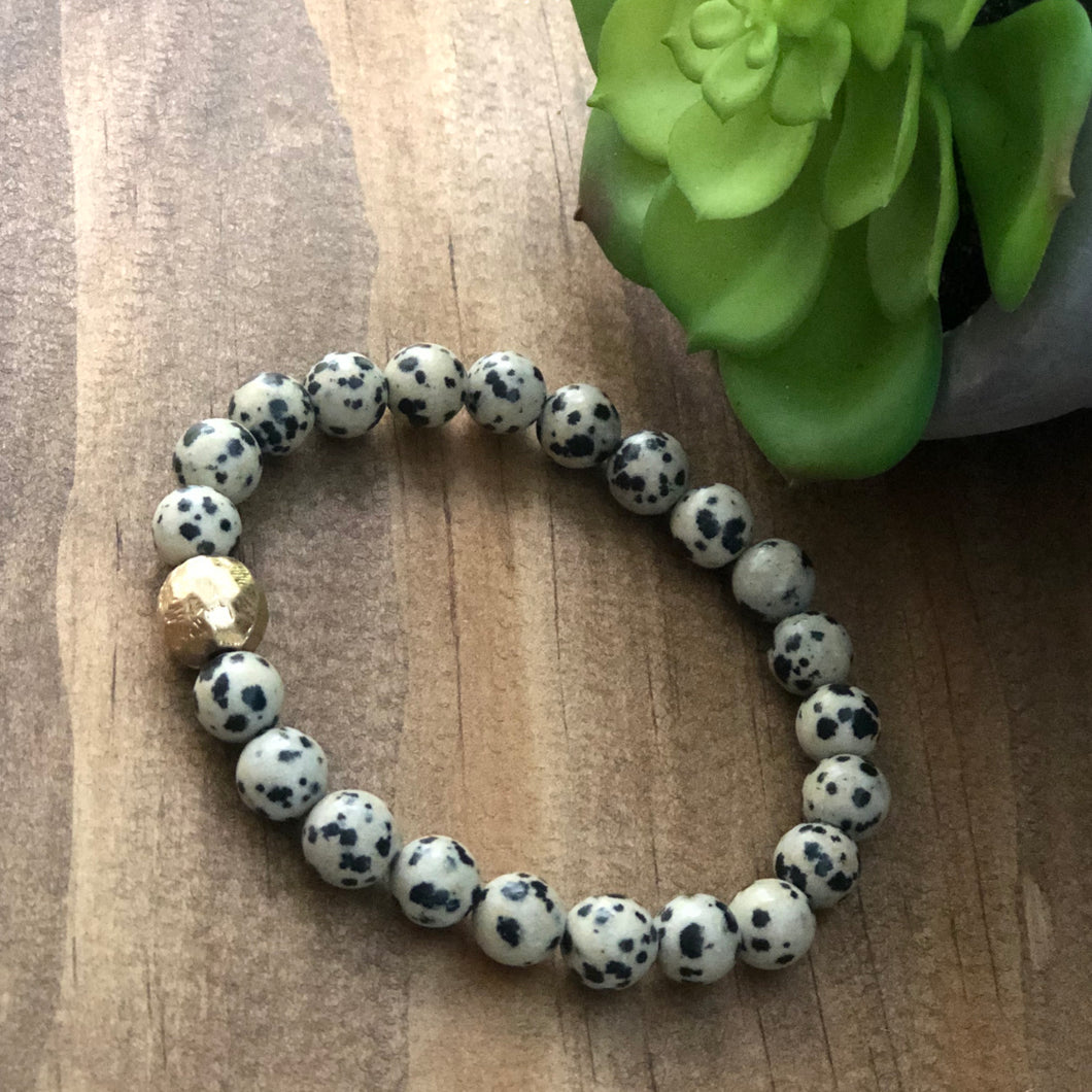 Dalmatian Stone Bracelet with gold bead