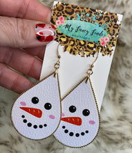 Holiday Earring leather tear drop