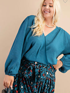 Cross your heart teal blouse