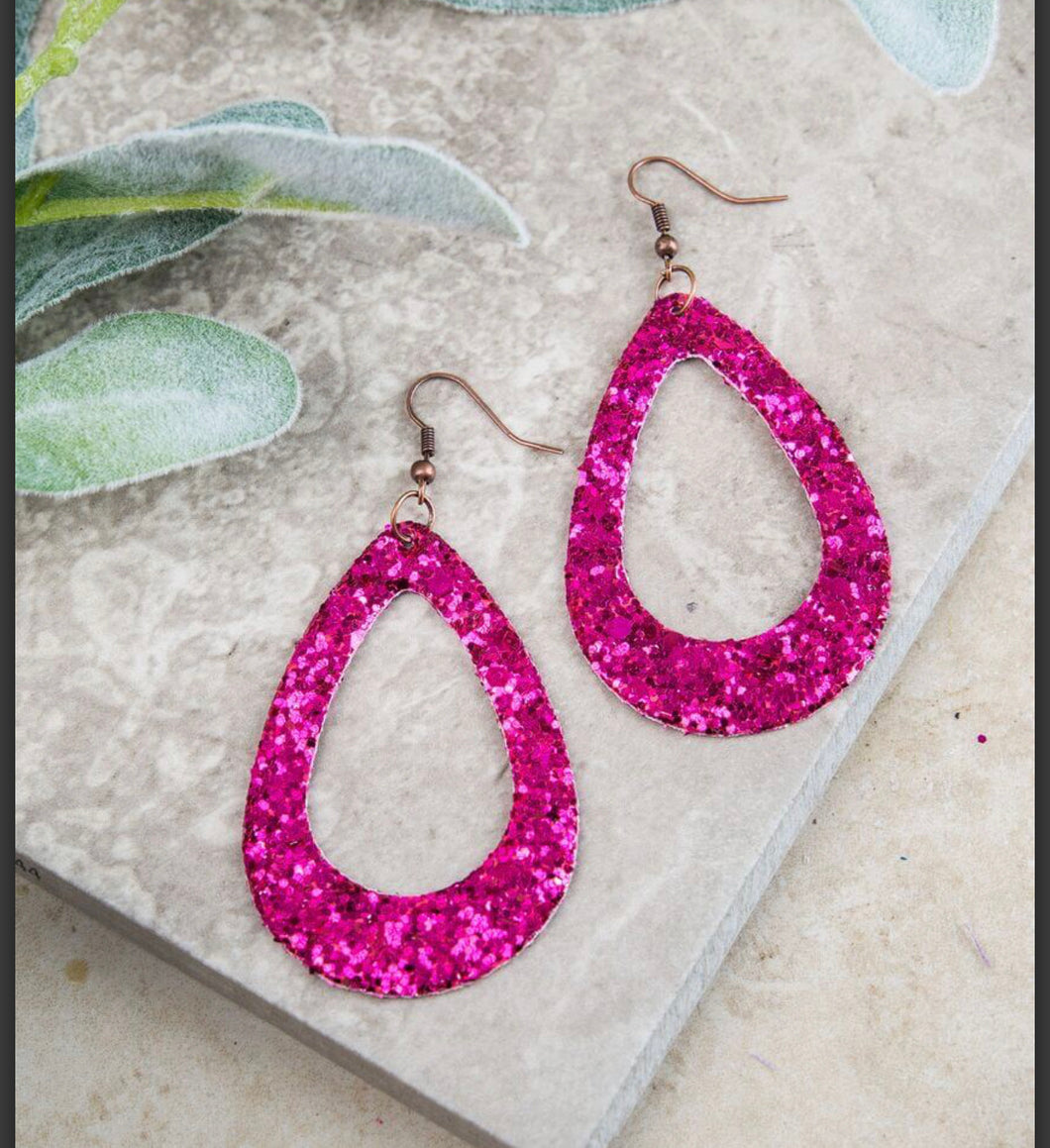 Hot Pink Sparkle Teardrops