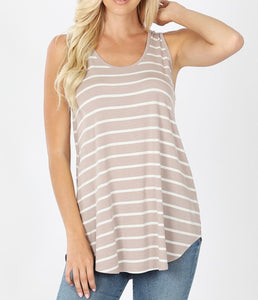 Ash Mocha & White Striped Tank Plus Size