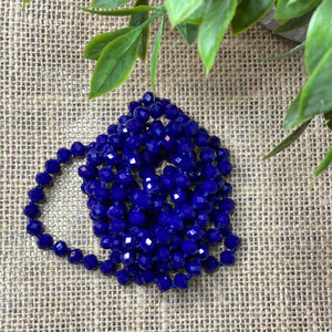 Classic solid color faceted bead long necklace