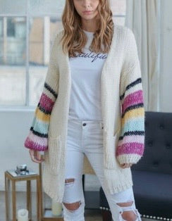 Cream Cardigan with Contrast sleeve