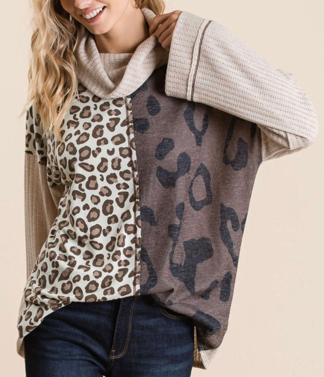 Cowl Neck Mixed Print Color Blocked top