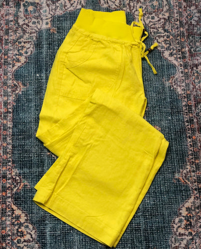 Sunburst Yellow Linen Blend Pant
