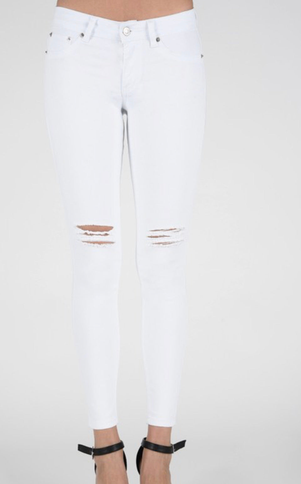 Skinny Leg white jegging distressed