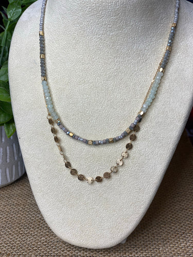 Petite Double layer seed bead and gold disc necklace