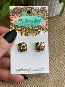 Gold-N-Glitter Square earring