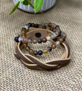 Leather & Natural stone bracelet trio