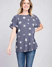 Star Printed Open V Back Shirt