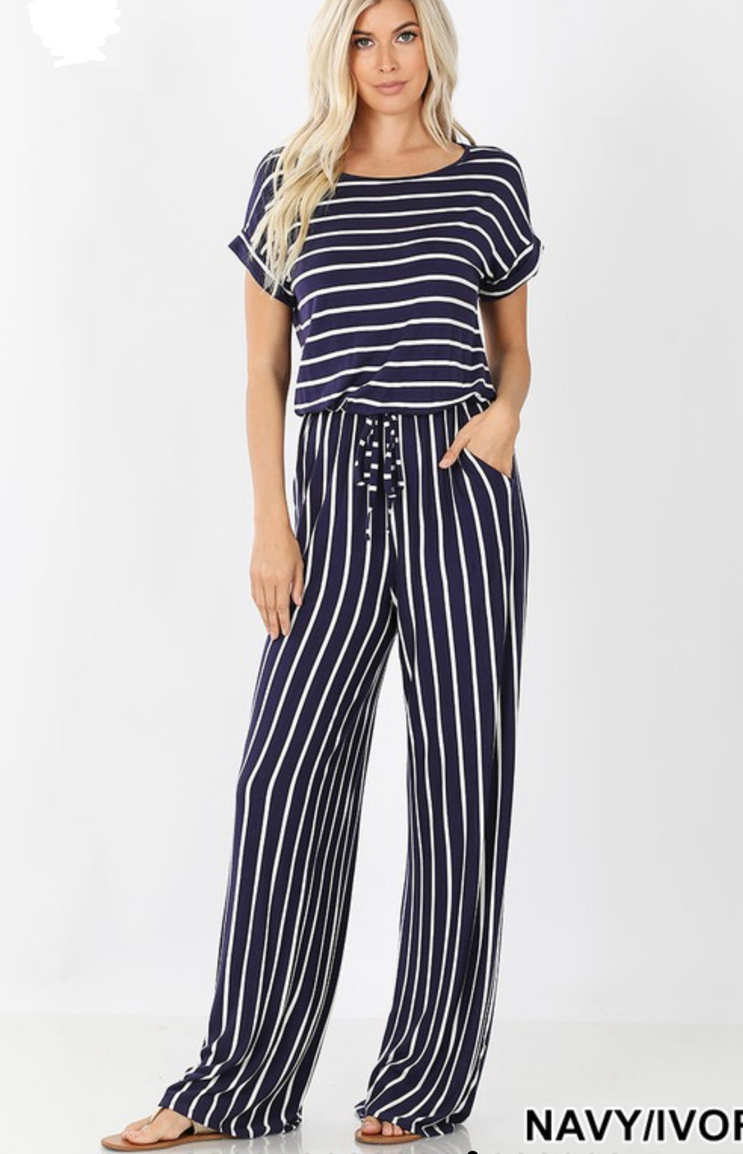 Navy & White Stripe Jumpsuit