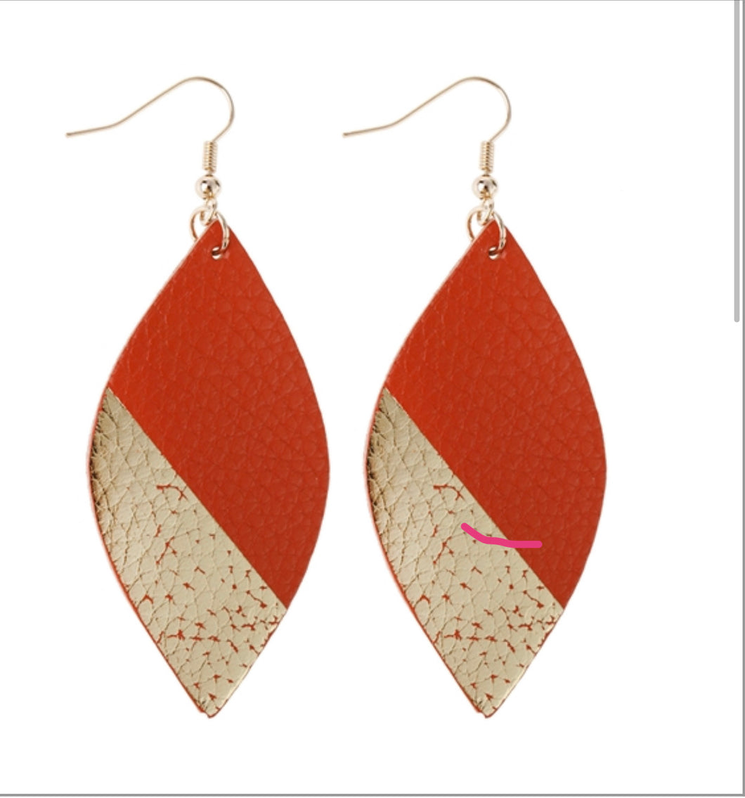 Fall Leather & Gold Earrings