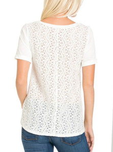 White Eyelet Lace Back top