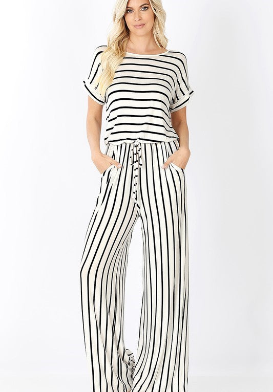 Ivory and Black Stripe Jumpsuit