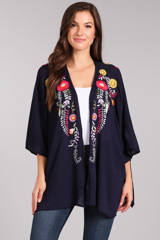 Embroidered Short Kimono Navy Blue