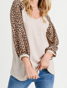 Oatmeal Leo Long Sleeve Top