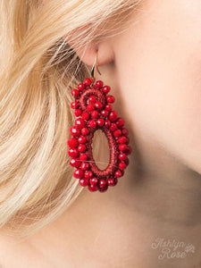 Flower Power Red Beaded Earring