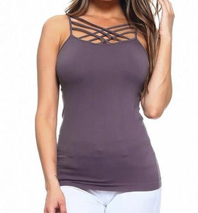 Shark Grey Criss Cross long tank