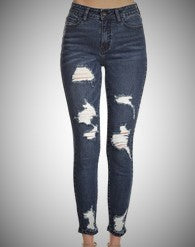 Skinny leg High waist Dark Distressed Denim