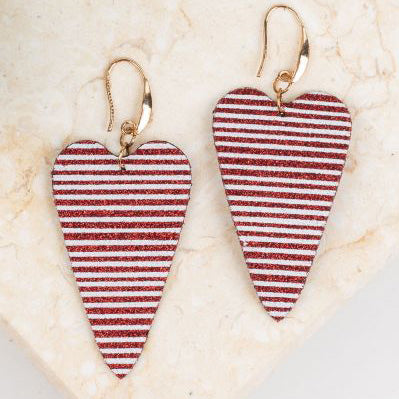 Stripe Heart Earring