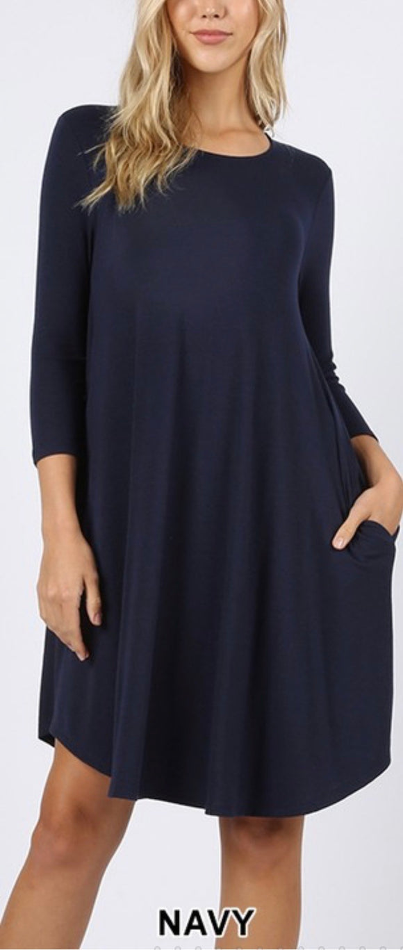 Navy 3/4 Sleeve Dress