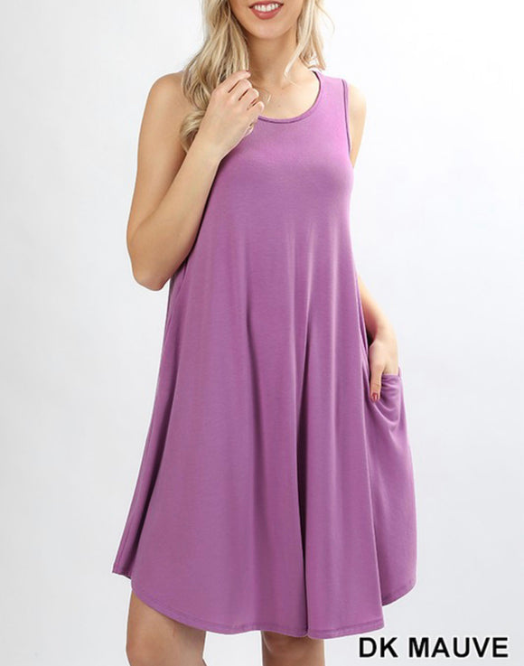 Dark Mauve Sleeveless Dress