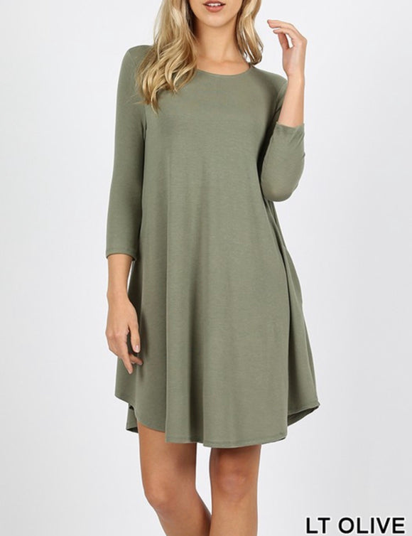 Light Olive 3/4 Sleeve Dress