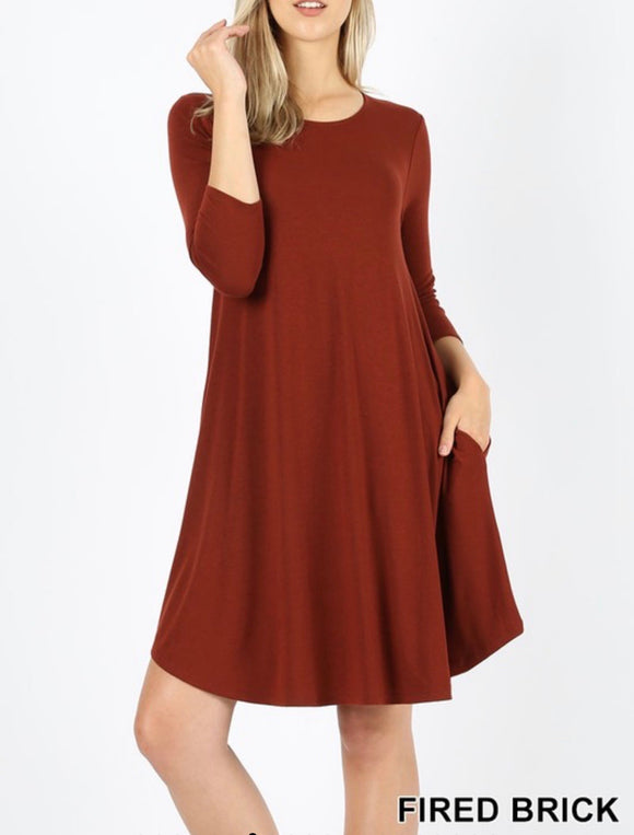 Fired Brick 3/4 Sleeve Dress