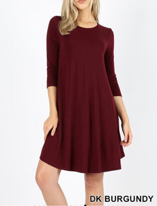 Dark Burgundy 3/4 Sleeve Dress