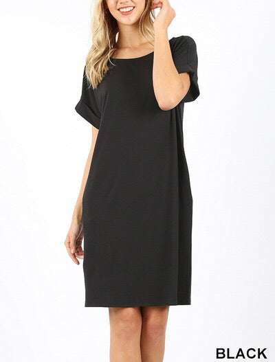 Black Cuff Sleeve Dress