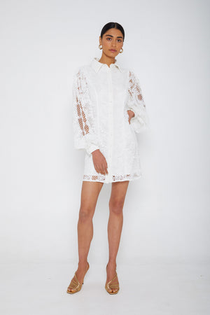 Mossman Looking Through the Looking Glass Mini dress in White Lace