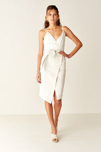 Suboo Cabana Belted Midi Wrap Dress in White