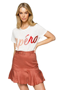 Apero Ombre Beaded Tee in White Multi