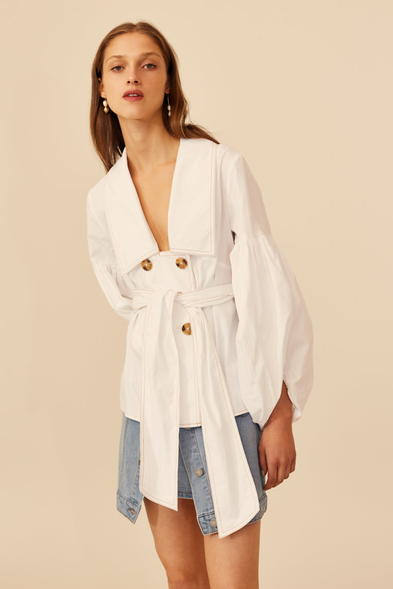 C/MEO Patent Shirt in White