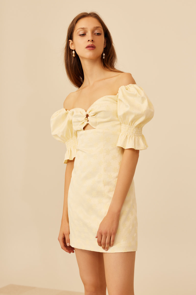 C/MEO Elate Short Sleeve Dress in Butter