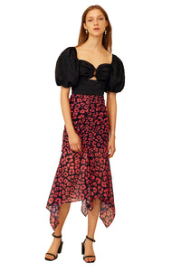 C/MEO So Settled Skirt in Hot Pink Abstract Floral