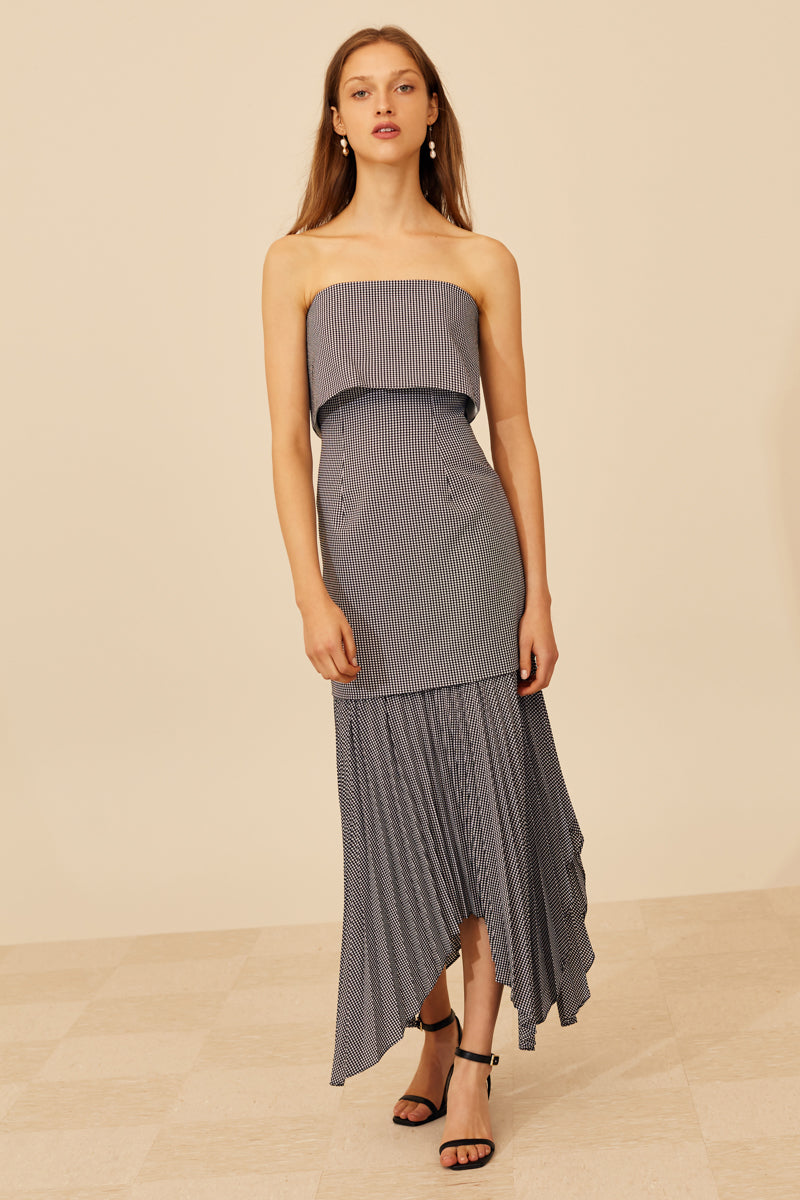 C/MEO Ovation Midi Dress in Black with Ivory Check