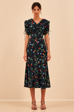 C/MEO Ended Up Here Midi Dress in Navy Floral