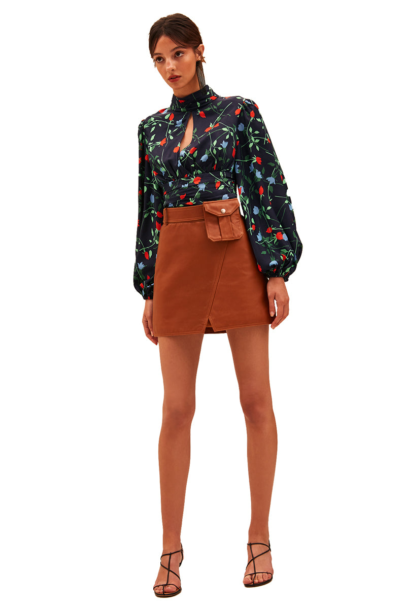 C/MEO Sectional Long Sleeve Top in Navy Floral