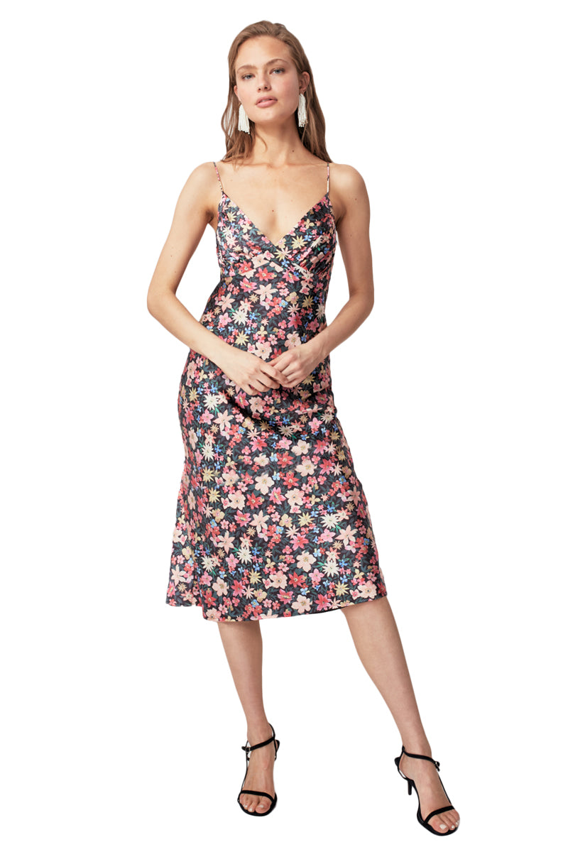 C/MEO Time Flew SS Dress in Black Garden Floral