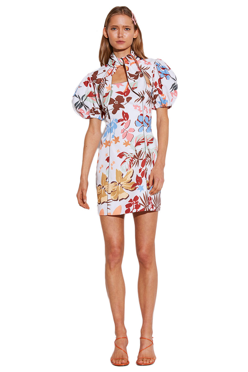 C/MEO Origin Short Sleeve Dress in Ivory Abstract Floral