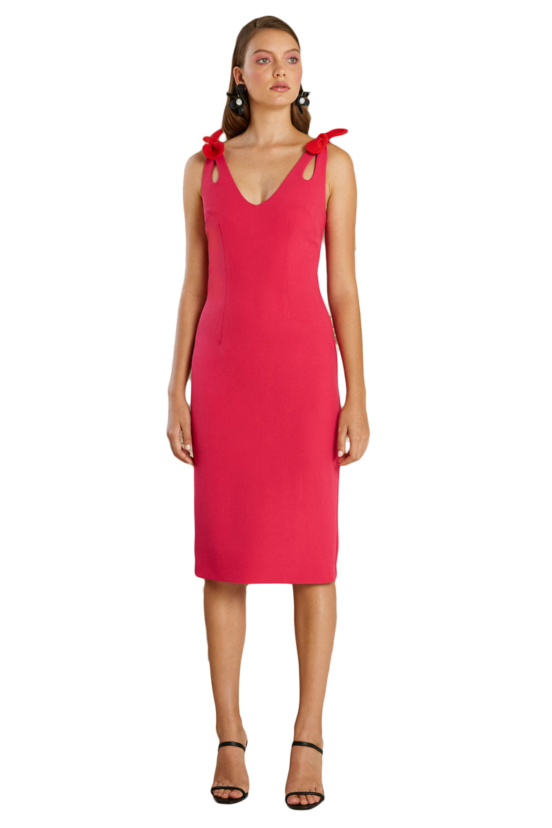 By Johnny Double Bow Shoulder Midi Dress in Deep Pink Red