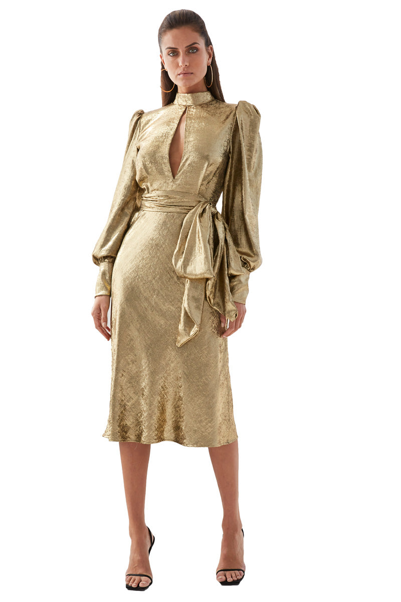 By Johnny Gold Foil Cuffed Midi Dress