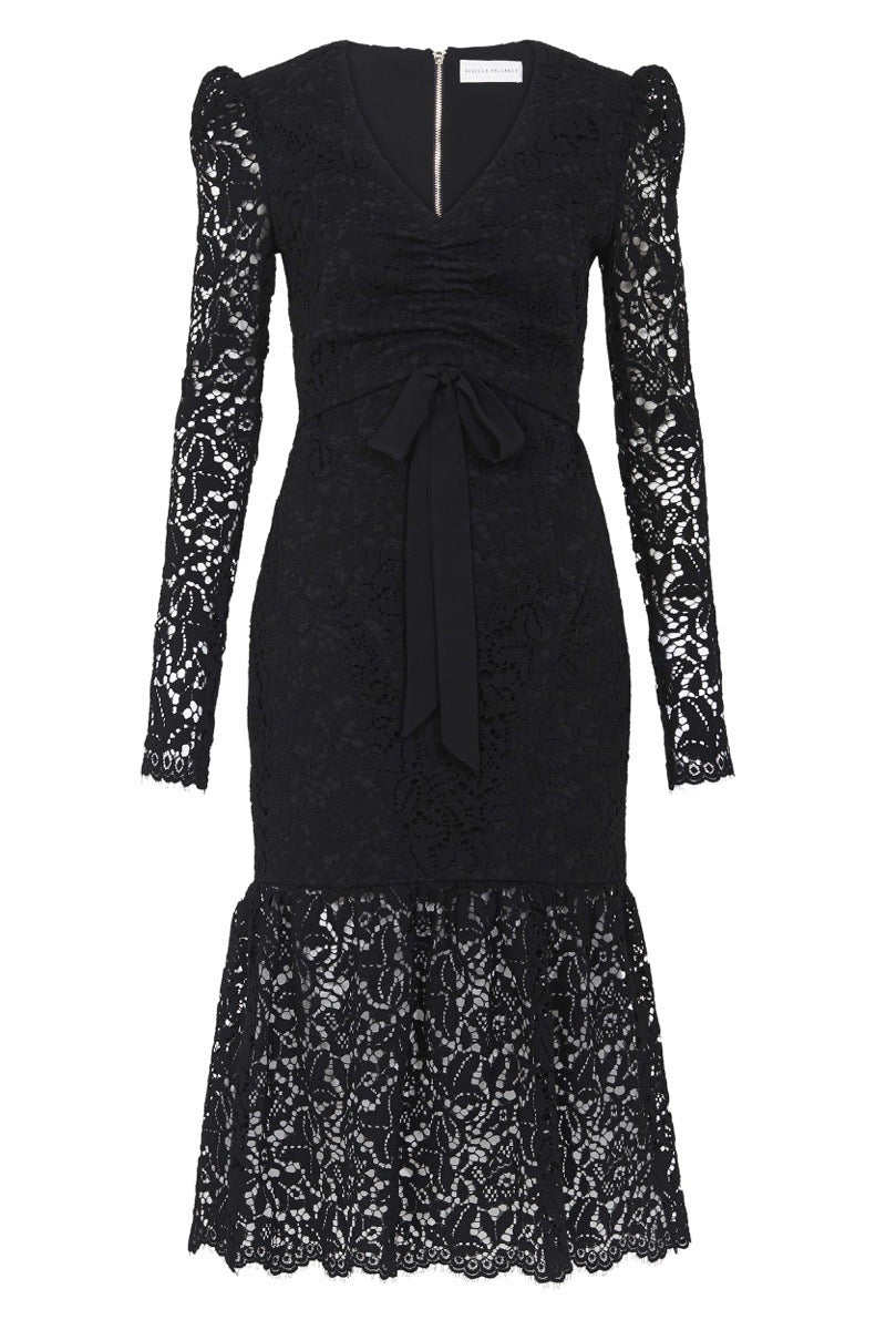 Rebecca Vallance Le Saint Ruched Dress in Black