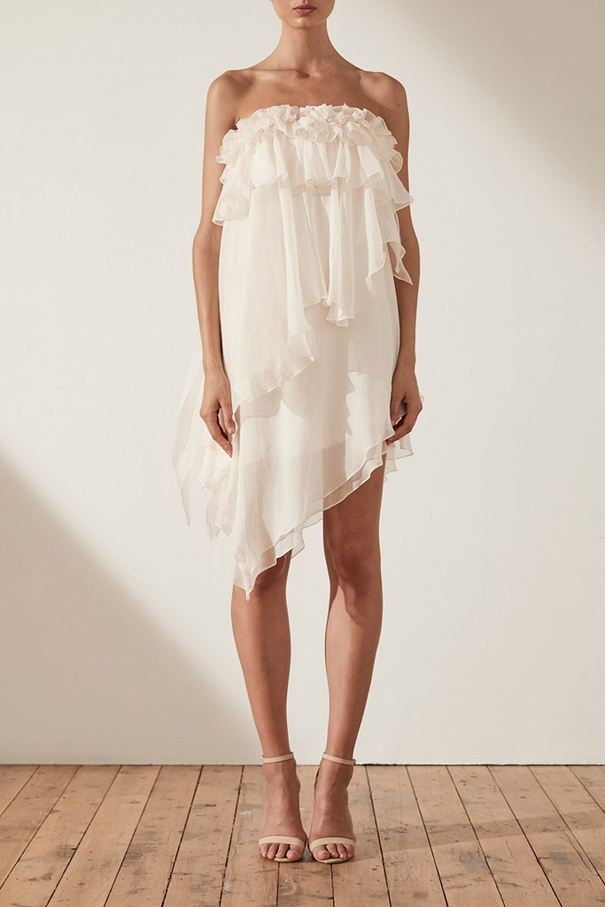 Shona Joy Willow Asym Ruffle Mini Dress in Cream