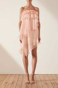 Shona Joy Willow Asym Ruffle Mini Dress in Blush