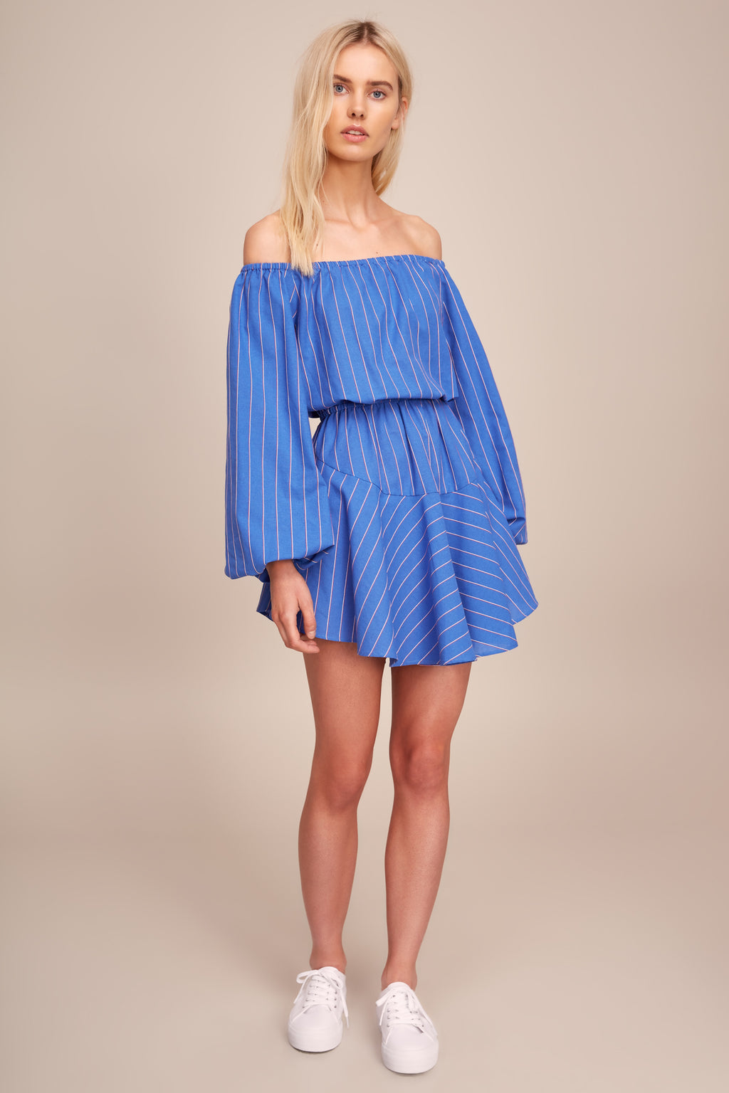 The Fifth Ray Strip Long Sleeve Dress in Blue with Red