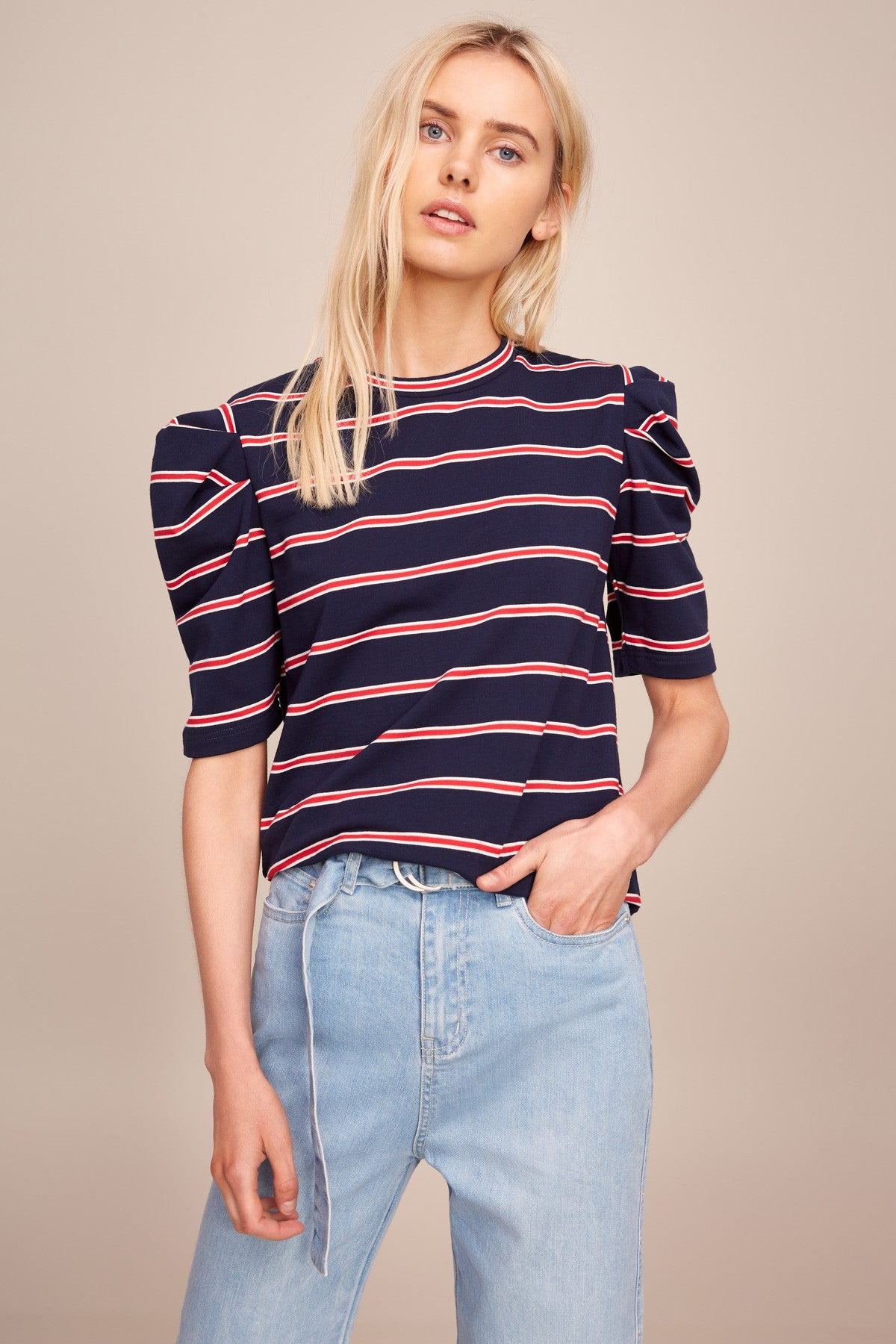 The Fifth Kinetic Stripe T-Shirt in Navy with Red