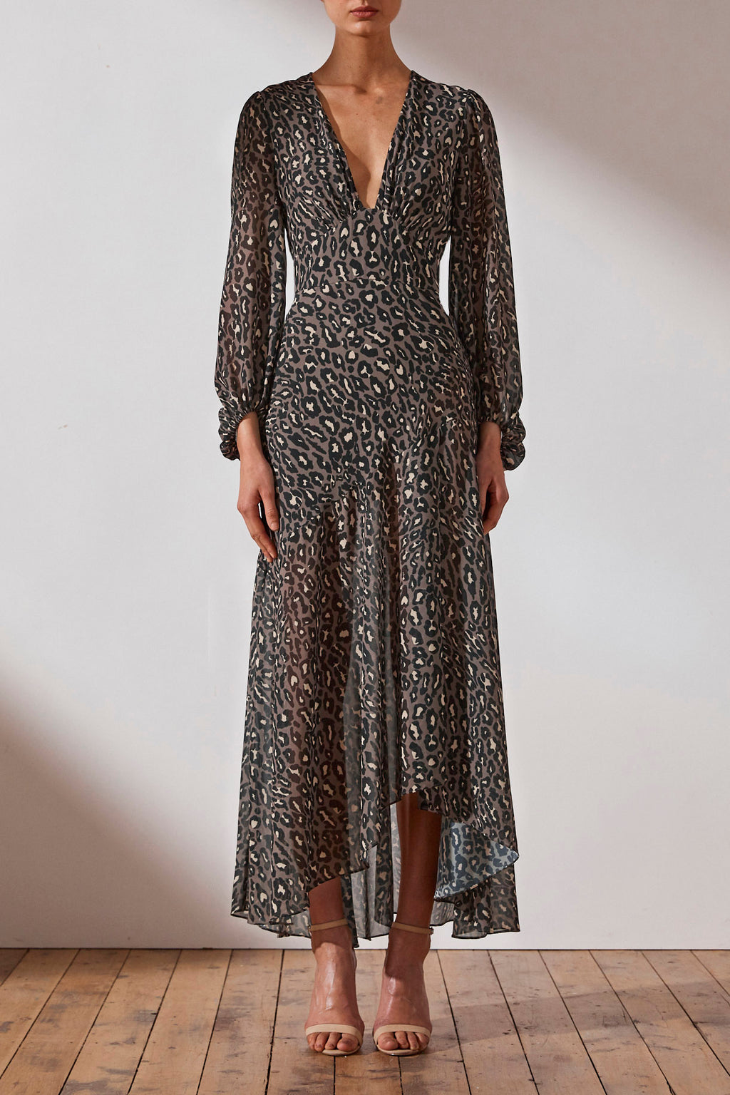 Shona Joy Plunged Midi Dress in Leopard/Olive